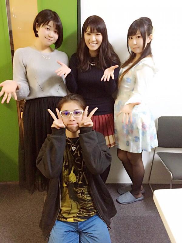社畜ちゃん 収録時の集合写真、成田童夢さん、尾崎真実さん、山田奈都美さん、岡本理絵さん