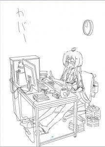「いきのこれ!社畜ちゃん」2巻 表紙ラフ